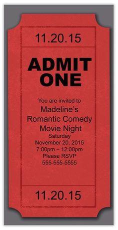 New party summer invitation movie nights Ideas Movie Night Party, Movie Nights, Game Night, Hollywood Party, Party Themes, Ideas Party, Diy Party, Birthday Invitations, Ticket Invitation