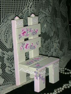 """SHABBY STYLE CHAIR WITH PINK ROSES WOOD 8.5x4.5x3.75"""" hp hand made & painted ch4"""