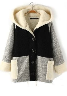Coziness!  Color Block Pockets Buttons Thick Wool Coat