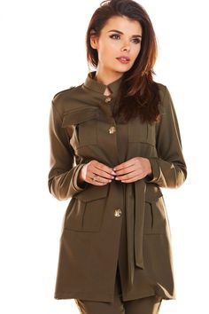 Jacheta kaki stil militar cu guler si butoni Casual Chic Outfits, Things That Bounce, Jackets For Women, Raincoat, Spandex, Model, Clothes, Bleach, Products