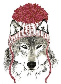 Wolf Art  - Wolves Love Winter Hats. $20.00, via Etsy.