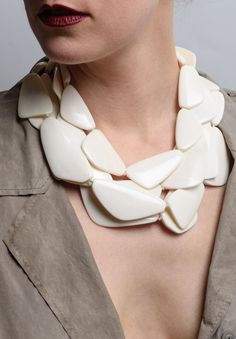 Monies Multi Strand Bone Slab Necklace