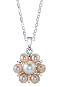 Multicolor Freshwater Pearl Pendant Necklace.
