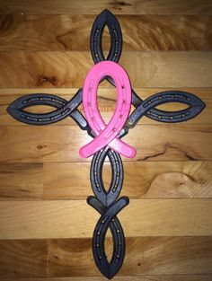 Cancer ribbon horseshoe cross