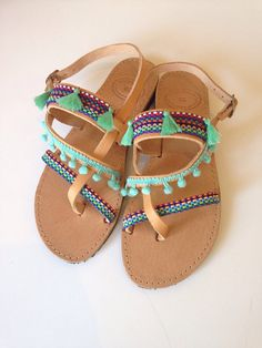 Handmade multicolor leather sandals by Ilgattohandmade on Etsy