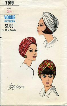 Vogue 7519, sombrero del turbante, patrón de costura vintage de Halston,    Vogue 7519, ca. 1060  Tamaño: 21 1/2    Patrón: Sin cortes, pliegues de fábrica  Envolvente: Vintage, muy buen estado. Hay un pliegue en la solapa. Tiene bronceado ligero edad.  Por favor, ver fotos de condición visual.