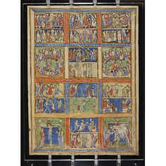 Leaf from a Psalter (Eadwine Psalter) with scenes from the New Testament  Canterbury; 1155-1160