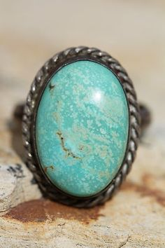 Vintage Southwestern Tribal Sterling Silver Pale Green Turquoise Ring | eBay