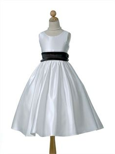 A-line Satin with Contrast Organza Sash flower girl dress FG031