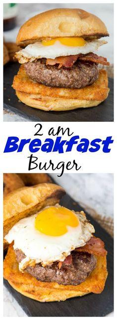 2am Breakfast Burger – the infamous 2am Burger from Rock Bottom Brewery made at home.  Topped with hash browns, bacon, and a fried egg.  Best burger recipe ever!