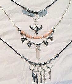 Hippie Jewelry, Wire Jewelry, Jewelry Crafts, Beaded Jewelry, Jewelery, Jewelry Necklaces, Leather Necklace, Diy Necklace, Fashion Bracelets