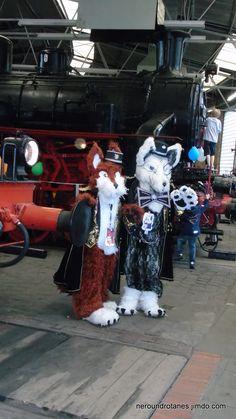 Nero und Rotanes im Eisenbahnmuseum Bochum am Kindertag 2016  #fursuit #mascot http://neroundrotanes.jimdo.com/
