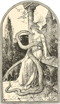 henry justice ford - the enchanted snake, illustration from the green fairy book by andrew lang