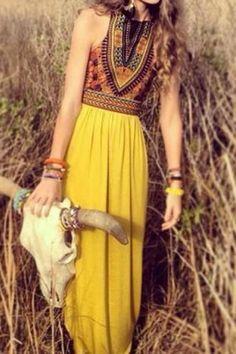 Bohemian Style Sleeveless Round Neck Printed Women's Dress