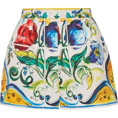 Dolce & Gabbana Printed cotton-poplin shorts ($620) ❤ liked on Polyvore featuring shorts, yellow, colorful shorts, yellow shorts, pocket shorts, multi colored shorts and patterned shorts
