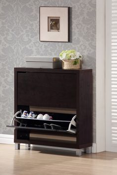 "Simms Dark Brown Modern Shoe Cabinet   92----37"" H 31.25"" W 9.25"" D"