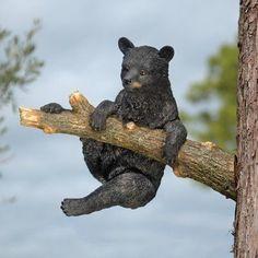 Design Toscano Up a Tree Hanging Black Bear Cub Sculpture - Climbing Bear Cub - KY69869