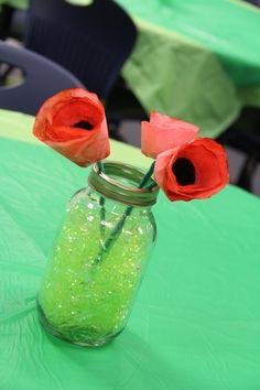 Wizard of OZ party for Teacher Appreciation Week poppy flower centerpieces