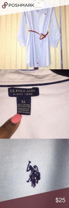 U.S. Polo Assn light blue shirt dress 👗 Shirt dress, great for a casual day out to brunch. Asking $25 OBO U.S. Polo Assn. Dresses