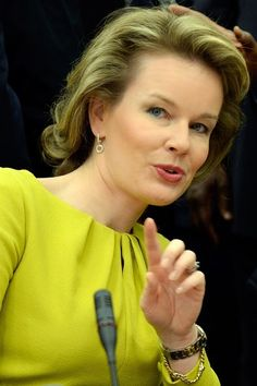 Queen Mathilde of Belgium attends a conference on Ebola on 03.03.2015 in Brussels.
