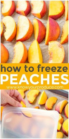 Learn how to freeze peaches that are perfect for peach recipes or just frozen peaches to snack on. How to freeze peaches the easy way without sugar! Summer Dessert Recipes, Fruit Recipes, Baby Food Recipes, Delicious Desserts, Yummy Food, Nutella Recipes, Food Tips, Vegetable Recipes, Recipes