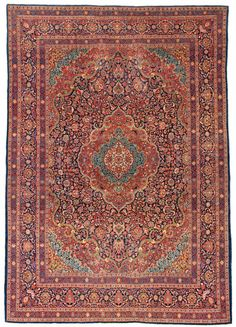 Kashan Carpet  Central Persia;Circa 1900;Condition: minor spots of low pile; overall in good condition;8ft. 7in. x 12ft. 1in.
