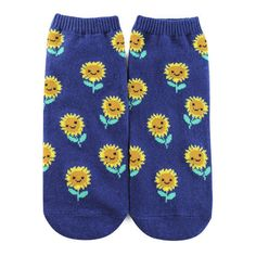 Forever 21 Sunflower Graphic Ankle Socks Navy/multi (€1,54) ❤ liked on Polyvore featuring intimates, hosiery, socks, ankle socks, cotton socks, short socks, graphic socks and tennis socks
