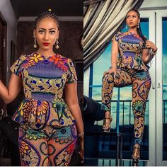 African Print Slim pants and Peplum Top Set