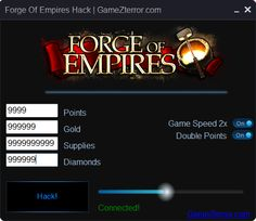 With FORGE of Empires HACK you can add free POINTS, GOLD, SUPPLIES AND DIAMONDS. ALSO GAME SPEED 2X AND DOUBLE POINTS. Undetectable! Free Download :)  http://gamezterror.com/forge-empires-hack/