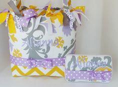Lavender Harmony with Yellow Zig Zag  by sassygatormonograms, $93.99