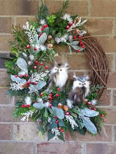 similar to Owl Winter Door Grapevine Wreath, Owls Holiday Wall Wreath, Gift Owl Wreath, Berries and Pine Cones Snow and Ice Wreath, Elegant Wreath on Etsy - Owl Winter Door Grapevine Wreath Owls Holiday Wall Wreath Owl Wreaths, Christmas Mesh Wreaths, Christmas Swags, Christmas Lanterns, Wreath Crafts, Diy Wreath, Grapevine Wreath, Winter Wreaths, Yarn Wreaths