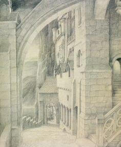 View from Minas Tirith - Alan Lee Alan Lee, Minas Tirith, Tolkien Books, Jrr Tolkien, Gandalf, King Kong, Narnia, Stencil, Illustration Art