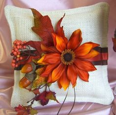 fall burlap and lace boutonniere | Rustic wedding burlap ring bearer pillow and flower girl basket ...