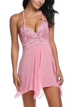 Pink Sexy Lingerie Lace Dress Babydoll Women's Underwear Sleepwear G-string Sexy Lingerie, Lingerie Outfits, Pretty Lingerie, Beautiful Lingerie, Babydoll Nightwear, Lace Babydoll, Babydoll Lingerie, Lingerie Sleepwear, Sleepwear Women