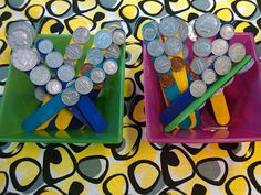 Love this idea for an easy counting coin center!  Could easily change stick colors based on the season!