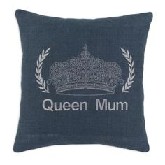 'Queen Mum' Navy Crown Burlap 17-inch x 17-inch Throw Pillow (Navy), Multi, Size 17 x 17 (Organic, Embroidered)