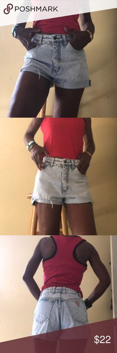 Vintage Guess stone wash high waist shorts sz28 Vintage new old stock Denim Guess cutoff shorts maybe uneven but can be rolled or trimmed. Guess Shorts Jean Shorts