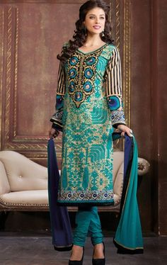 Picture of Exquisite Beige and Sea Green Color Salwar Kameez