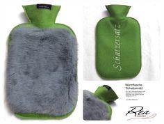 Wärmflasche 'Schatzersatz' -- Filz 100% Schurwolle maigrün 200 - QualitätsGummiWärmflasche - Kaninchen grau gefärbt bayrisch - Grösse 26 x 16 cm