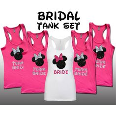 Disney Minnie Pink Bride Party Set Bridesmaid Bridal Bachelorette Tank... ($20) ❤ liked on Polyvore featuring grey, tanks, tops and women's clothing
