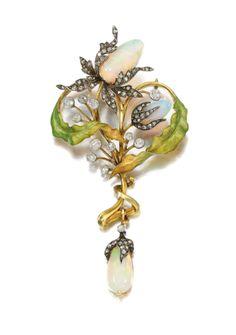 Enamel, opal and diamond pendant, Guillemin Frères, circa 1900 | Lot | Sotheby's