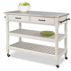@Overstock - Savannah Kitchen Cart is constructed of solid and engineered wood in a white finish. This kitchen cart features a 7mm stainless steel top, antiqued bronze hardware, two storage drawers and heavy-duty locking casters.http://www.overstock.com/Home-Garden/Home-Styles-Savannah-White-Kitchen-Cart/6626649/product.html?CID=214117 $394.99