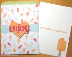 Use Mini Treat Bag Thinlits Dies to make a Pocket Birthday card with the Tasty Treats Designer Paper and earn free product during Sale-A-Bration.
