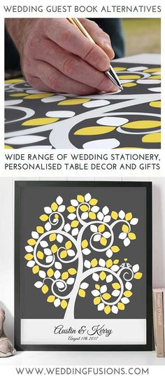 Guest Book Signature Hearts available in any colour - a wedding keepsake to frame and cherish forever! Yellow Grey Weddings, Gray Wedding Colors, Wedding Invitation Sets, Wedding Stationary, Diy Wedding, Wedding Gifts, Wedding Guest Book Alternatives, Business Products, Printable Designs
