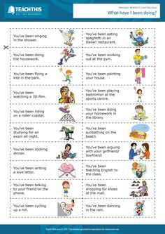 This entertaining miming game can be used to help teach or review the present perfect continuous tense.