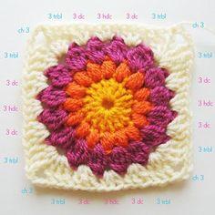 Nittybits: Sunburst Granny Square Blanket Tutorial