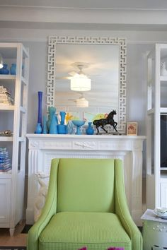 living room inspiration: pairing turquoise & green with a neutral gray