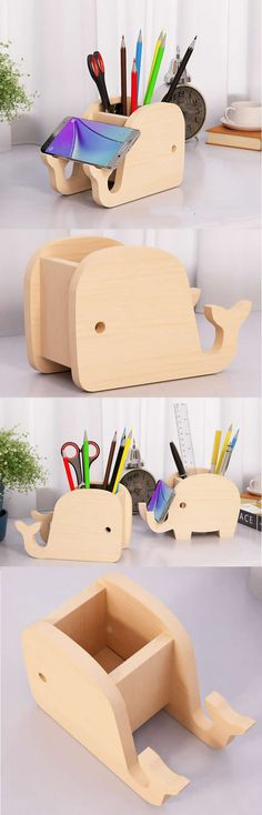 Bamboo Wooden Whale Pen Pencil Holder Stand iPhone iPad Smart Phone Holder Dock  Business Card Display Stand Holder Office Desk Supplies Stationary Organizer
