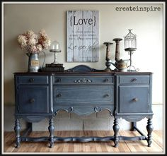 Hometalk | Antique Buffet in Ash From Fusion Mineral Paint