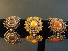 Autumn Oak Bead Embroidered Bracelet by crimsonfrog on Etsy, $175.00